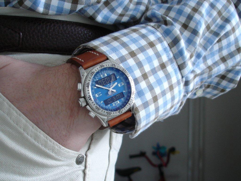 80767a7981a4f Here is my blue dial B-1 with a tan brown strap